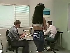 Hank Armstrong with 2 dominant chicks in the office