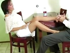 Hot MILF Roni gives her man a nylon footsie over dinner