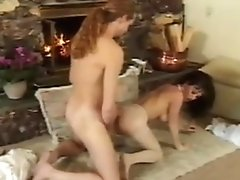 Big breasted brunette fucked in pussy and ass