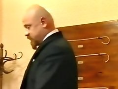 Bald teacher spanked lady