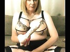 'Annabel's new retro lingerie riding a big dildo'