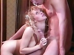 Sexy blonde milks jizz-shotgun in the kitchen