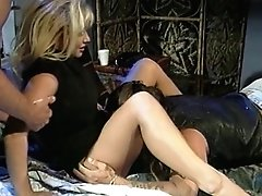 Horny blonde whore gets pounded from behind while providing head